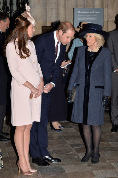Catherine, Duchess of Cambridge and Prince William, Duke of Cambridge greet Camilla, Duchess of Cornwall as they attend the Observance for Commonwealth Day Service At Westminster Abbey on March 9, 2015 in London, England.