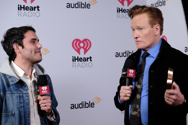 The 2020 iHeartRadio Podcast Awards – Backstage [best comedy podcast,interview,event,premiere,news conference,carpet,tmbrien,conan o\u00e2,jack obrien,iheartradio podcast awards,award,l-r,iheartradio theater,california,burbank,conan obrien,aaron bleyaert,iheartradio,podcast,conan obrien needs a friend,podcast awards,episode]