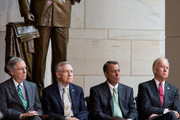 (L-R) Senate Minority Leader Mitch McConnell (R-KY), Senate Majority Leader Harry Reid (D-NV), Speaker of the House John Boehner (R-OH), and U.S. Vice President Joe Biden are seen during a dedication ceremony for the new Frederick Douglass Statue in Emancipation Hall in the Capitol Visitor Center, at the U.S. Capitol, on June 19, 2013 in Washington, DC. The 7 foot bronze statue of Douglass joins fellow black Americans Rosa Parks, Martin Luther King Jr. and Sojourner Truth on permanent display in the Capitol's Emancipation Hall.