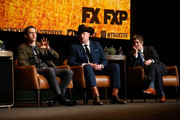 "(L-R) Harris Dickinson, Brendan Fraser, and Michael Esper speak onstage during the For Your Consideration Event for FX's ""Trust"" at Saban Media Center on May 11, 2018 in North Hollywood, California."