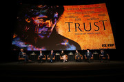 "(L-R) John Horn, Simon Beaufoy, Donald Sutherland, Hilary Swank. Harris Dickinson, Brendan Fraser, and Michael Esper speak onstage during the For Your Consideration Event for FX's ""Trust"" at Saban Media Center on May 11, 2018 in North Hollywood, California."