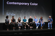 """Color guard members Dormeshia Ward, Marcus Henry, Kristin Thayer, Brian Rosa, Christian Orr, and directors Turner Ross and Bill Ross and musician David Byrne speak onstage at the """"Contemporary Color"""" Premiere during the 2016 Tribeca Film Festival at BMCC John Zuccotti Theater on April 14, 2016 in New York City."""