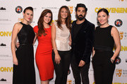 "Hester Ruoff (L) and Ray Panthaki (2nd from right) attend the premiere of ""Convenience"" at Curzon Soho on September 21, 2015 in London, England."