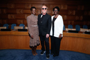 (L-R)  Lupita Nyong'o, Michael Kors and Dorothy Nyong'o attend In Conversation with Michael Kors, Lupita Nyong'o, and the World Food Programme at United Nations Headquarters on October 21, 2019 in New York City.