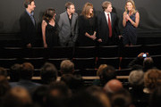 """(L-R) Director Tony Goldwyn, screenwriter Pamela Gray, actor Sam Rockwell, film subject Betty Anne Waters, Innocence Project co-founder Barry Scheck, and actress Hilary Swank address the audience before the screening of """"Conviction"""" hosted by the Innocence Project at The French Institute on October 13, 2010 in New York City."""