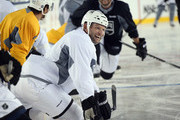 Robyn Regehr #44 of the Los Angeles Kings takes part in a practice at Levi's Stadium on February 20, 2015 in Santa Clara, California. The practice day was held the day prior to the 2015 Coors Light NHL Stadium Series game between Anaheim and Los Angeles.