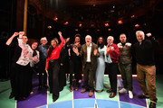 English filmmaker Ken Loach (3rd L), Jamelia  (6th L) Labour leader Jeremy Corbyn, (C) Labour's Shadow Minister of State for Women and Equalities Dawn Butler (4th R) and Labour Party Shadow Chancellor of the Exchequer John McDonnell (3rd R) and Billy Bragg (R) attend the launch of Labour's new charter for the arts at the theatre Royal Stratford East on November 24, 2019 in London, England. Corbyn was joined by music, film and theatre stars to help launch Labour's £1bn 'Arts for All' policy charter.