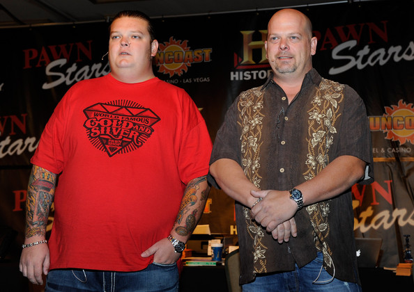 """Big Hoss"" Harrison (L) and Rick Harrison from History's ""Pawn Stars"