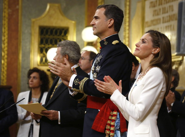 King Felipe VI of Spain, Queen Letizia of Spain at the Congress of Deputies applaud the president of the Congress of Deputies, Jesus Posada during the Kings first speech to make his proclamation as King of Spain to the Spanish Parliament on June 19, 2014 in Madrid, Spain. The coronation of King Felipe VI is held in Madrid. His father, the former King Juan Carlos of Spain abdicated on June 2nd after a 39 year reign. The new King is joined by his wife Queen Letizia of Spain.
