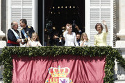 (L-R) King Juan carlos,  King Felipe VI of Spain,  Princess Leonor, Princess of Asturias, Queen Letizia of Spain, Princess Sofia and Queen Sofia appear at the balcony of the Royal Palace during the King's official coronation ceremony on June 19, 2014 in Madrid, Spain. The coronation of King Felipe VI is held in Madrid. His father, the former King Juan Carlos of Spain abdicated on June 2nd after a 39 year reign. The new King is joined by his wife Queen Letizia of Spain.