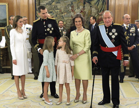 King Felipe VI of Spain attends a ceremony in the Hearing Room of Zarzuela Palace with Queen Letizia of Spain, Princess Leonor, Princess of Asturias, Princess Sofia, Queen Sofia and King Juan Carlos prior to the King's official coronation ceremony on June 19, 2014 in Madrid, Spain. The coronation of King Felipe VI is held in Madrid. His father, the former King Juan Carlos of Spain abdicated on June 2nd after a 39 year reign. The new King is joined by his wife Queen Letizia of Spain.