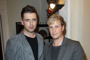 (UK TABLOID NEWSPAPERS OUT) Mark Feehily and Kian Egan of Westlife pose in the press room at the Cosmopolitan Ultimate Women of the Year awards 2010 held at Banqueting House on November 2, 2010 in London, England.
