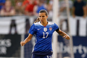 Defender Tobin Heath #17 of the United States dribbles during the friendly match against Costa Rica at Finley Stadium on August 19, 2015 in Chattanooga, Tennessee.
