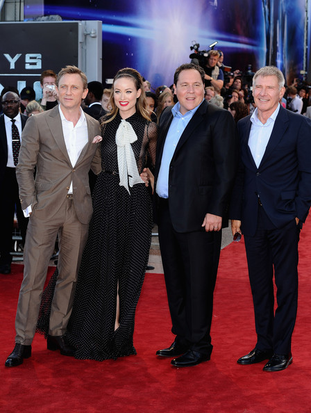 Actors Daniel Craig, Olivia Wilde, director Jon Favreau and actor Harrison Ford attend the 'Cowboys and Aliens' UK film premiere at  the 02 Arena on August 11, 2011 in London, England.