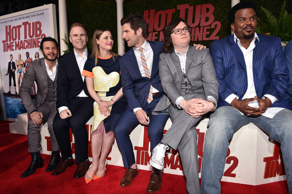 'Hot Tub Time Machine 2' Premieres in Westwood [event,premiere,youth,carpet,red carpet,flooring,suit,team,hot tub time machine 2,andrew panay,josh heald,actors,gillian jacobs,l-r,paramount pictures,red carpet,premiere,premiere]