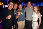 """Adam Carolla, Jim Florentine, Daniel Kellison, Kevin Nealon and Kathy Griffin attend the """"Crank Yankers"""" 2019 Premiere Party at Two Bit Circus on September 24, 2019 in Los Angeles, California."""