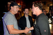 """Kevin Nealon, Jimmy Kimmel and Jim Florentine attend the """"Crank Yankers"""" 2019 Premiere Party at Two Bit Circus on September 24, 2019 in Los Angeles, California."""