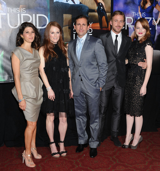 "Marisa Tomei, Julianne Moore, Steve Carell, Ryan Gosling and Emma Stone attend the ""Crazy, Stupid, Love."" World Premiere at the Ziegfeld Theater on July 19, 2011 in New York City."