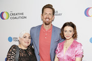 (L-R) Optune Patient Ambassador Lisa Bruce, Actor Steve Howey and Actress Catherina Scorsone at the Creative Coalition's 2019 #RightToBearArts Gala Presented By Optune on May 09, 2019 in Washington, D.C.