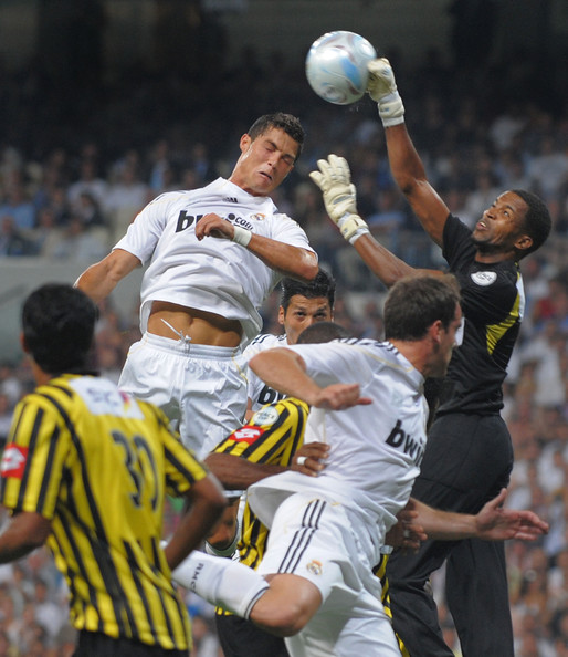cristiano ronaldo real madrid. Cristiano Ronaldo (L) of Real