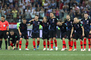 Players of Croatia watch the peanlty shoot out during the 2018 FIFA World Cup Russia Round of 16 match between Croatia and Denmark at Nizhny Novgorod Stadium on July 1, 2018 in Nizhny Novgorod, Russia.