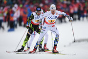 Marcus Hellner of Sweden competes during the Men's 4 x 10km Cross-Country Relay during the FIS Nordic World Ski Championships at the Lugnet venue on February 27, 2015 in Falun, Sweden.