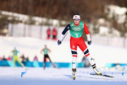 Maiken Caspersen Falla of Norway crosses the line during the Cross Country Ladies' Team Sprint Free semi final on day 12 of the PyeongChang 2018 Winter Olympic Games at Alpensia Cross-Country Centre on February 21, 2018 in Pyeongchang-gun, South Korea.