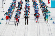 Martin Johnsrud Sundby of Norway, Alex Harvey of Canada, Dario Cologna of Switzerland, Alexey Poltoranin of Kazakhstan lead the field during the Men's 50km Mass Start Classic on day 15 of the PyeongChang 2018 Winter Olympic Games at Alpensia Cross-Country Centre on February 24, 2018 in Pyeongchang-gun, South Korea.