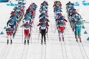 Martin Johnsrud Sundby of Norway, Alex Harvey of Canada, Dario Cologna of Switzerland, Hans Christer Holund of Norway and Alexey Poltoranin of Kazakhstan lead the field during the Men's 50km Mass Start Classic on day 15 of the PyeongChang 2018 Winter Olympic Games at Alpensia Cross-Country Centre on February 24, 2018 in Pyeongchang-gun, South Korea.