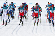 Iivo Niskanen of Finland, Martin Johnsrud Sundby of Norway, Emil Iversen of Norway and Alex Harvey of Canada compete during the Men's 50km Mass Start Classic on day 15 of the PyeongChang 2018 Winter Olympic Games at Alpensia Cross-Country Centre on February 24, 2018 in Pyeongchang-gun, South Korea.