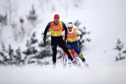 Lucas Boegl of Germany and Marcus Hellner of Sweden compete during Cross-Country Skiing men's 4x10km relay on day nine of the PyeongChang 2018 Winter Olympic Games at Alpensia Cross-Country Center on February 18, 2018 in Pyeongchang-gun, South Korea.