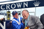 (L-R) Jockey Jim Cassidy and owner John Singleton of Dear Demi, pose with the Crown Oaks trophy after winning the Crown Oaks during 2012 Crown Oaks Day at Flemington Racecourse on November 8, 2012 in Melbourne, Australia.