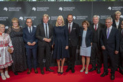 Crown Prince Haakon of Norway and Crown Princess Mette-Marit of Norway stand together with German Foreign Minister Heiko Maas (3-L), the director of the Buchmesse, Juergen Boos, Ursula Bouffier, the Prime Minister of Hesse Volker Bouffier (4-R) and others before the opening ceremony of the Frankfurt Book Fair 2019 on October 15, 2019 in Frankfurt am Main, Germany.