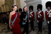 King Philippe of Belgium and wife Queen Mathilde arrive to the gala banquet on the occasion of The Crown Prince's 50th birthday at Christiansborg Palace on May 26, 2018 in Copenhagen, Denmark. Some 350 guest participated in the event