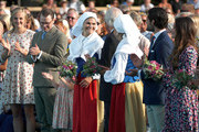 (from second left) Prince Daniel of Sweden, Princess Estelle of Sweden, Crown Princess Victoria of Sweden, King Carl Gustaf of Sweden, Queen Silvia of Sweden, Prince Carl Philip of Sweden and Princess Sofia of Sweden during the occasion of The Crown Princess Victoria of Sweden's 41st birthday celebrations at Borgholm Sports Arena on July 14, 2018 in Oland, Sweden.