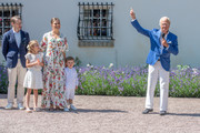 King Carl Gustav of Sweden leads the birthday salute to his daughter during The Crown Princess Victoria of Sweden's 42nd birthday celebrations on July 14, 2019 at Solliden Palace in Borgholm, Oland, Sweden.