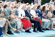Prince Daniel of Sweden, Princess Estelle of Sweden, Crown Princess Victoria of Sweden, King Carl Gustaf of Sweden, Queen Silvia of Sweden, Prince Carl Philip of Sweden, Princess Sofia of Sweden and Princess Madeleine of Sweden during the occasion of The Crown Princess Victoria of Sweden's 41st birthday celebrations at Borgholm Sports Arena on July 14, 2018 in Oland, Sweden.