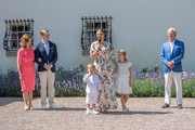 Crown Princess Victoria of Sweden addresses the audience alongside her children, Prince Oscar and Princess Estelle, her husband Prince Daniel, and her parents, King Carl Gustav and Queen Sylvia, during The Crown Princess Victoria of Sweden's 42nd birthday celebrations on July 14, 2019 at Solliden Palace in Borgholm, Oland, Sweden.