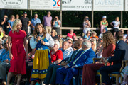 Former Skiing World Champion and Victoria Prize winner Pernilla Wiberg addresses this year's Victoria Prize winner Hanna Oberg during The Crown Princess Victoria of Sweden's 42nd birthday celebrations on July 14, 2019 at Borgholm's Idrottsplatsen in Borgholm, Oland, Sweden.