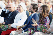 King Carl Gustaf of Sweden, Queen Silvia of Sweden, Prince Carl Philip of Sweden and Princess Sofia of Sweden during the occasion of The Crown Princess Victoria of Sweden's 41st birthday celebrations at Borgholm Sports Arena on July 14, 2018 in Oland, Sweden.