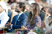 Prince Carl Philip of Sweden and Princess Sofia of Sweden during the occasion of The Crown Princess Victoria of Sweden's 41st birthday celebrations at Borgholm Sports Arena on July 14, 2018 in Oland, Sweden.