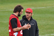 Captain Samuel Whitelock and Head Coach Scott Robertson (L-R) look on during a Crusaders Super Rugby training session at Rugby Park on August 2, 2018 in Christchurch, New Zealand.