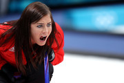 Eve Muirhead of Great Britain directs her team during Women's Round Robin Session 9 on day 10 of the PyeongChang 2018 Winter Olympic Games at Gangneung Curling Centre on February 19, 2018 in Pyeongchang-gun, South Korea.