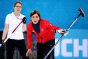 Eve Muirhead of Great Britain and Janine Greiner of Switzerland  look on during the Bronze medal match between Switzerland and Great Britain on day 13 of the Sochi 2014 Winter Olympics at Ice Cube Curling Center on February 20, 2014 in Sochi, Russia.