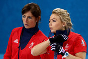 Eve Muirhead (L) and Anna Sloan of Great Britain look on during the Bronze medal match between Switzerland and Great Britain on day 13 of the Sochi 2014 Winter Olympics at Ice Cube Curling Center on February 20, 2014 in Sochi, Russia.