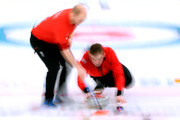 Kyle Waddell of Great Britain throws a rock as Cameron Smith fllows to sweep in a 6-5 win over Japan during the Men's Curling Round Robin on day 6 of the PyeongChang 2018 Winter Olympics at Gangneung Curling Centre on February 15, 2018 in Gangneung, South Korea.