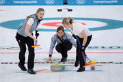 Eve Muirhead watches her throw as Lauren Gray and Vicki Adams prepare to sweep in a match against South Korea during the Women's Curling Round Robin on day eight of the PyeongChang 2018 Winter Olympic Games at Gangneung Curling Centre on February 17, 2018 in Gangneung, South Korea.