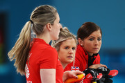 (L-R)  Lauren Gray, Vicki Adams and Eve Muirhead of Great Britain look on during the Women Curling round robin session 7 on day nine of the PyeongChang 2018 Winter Olympic Games at Gangneung Curling Centre on February 18, 2018 in Gangneung, South Korea.