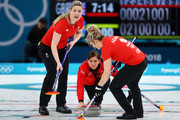 (L-R)  Lauren Gray, Vicki Adams and Eve Muirhead of Great Britain compete during the Women Curling round robin session 7 on day nine of the PyeongChang 2018 Winter Olympic Games at Gangneung Curling Centre on February 18, 2018 in Gangneung, South Korea.