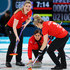 Eve Muirhead Lauren Gray Photos - (L-R)  Lauren Gray, Vicki Adams and Eve Muirhead of Great Britain compete during the Women Curling round robin session 7 on day nine of the PyeongChang 2018 Winter Olympic Games at Gangneung Curling Centre on February 18, 2018 in Gangneung, South Korea. - Curling - Winter Olympics Day 9